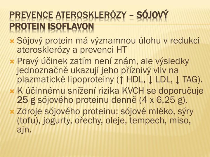 Sójový protein má významnou úlohu v redukci aterosklerózy a prevenci HT