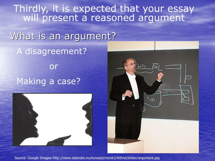 Thirdly, it is expected that your essay will present a reasoned argument
