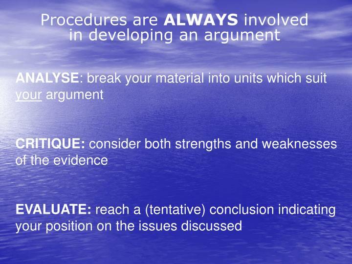 Procedures are
