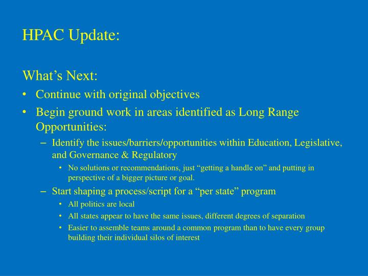 HPAC Update: