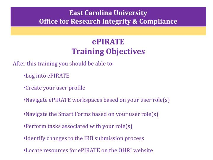 Epirate training objectives