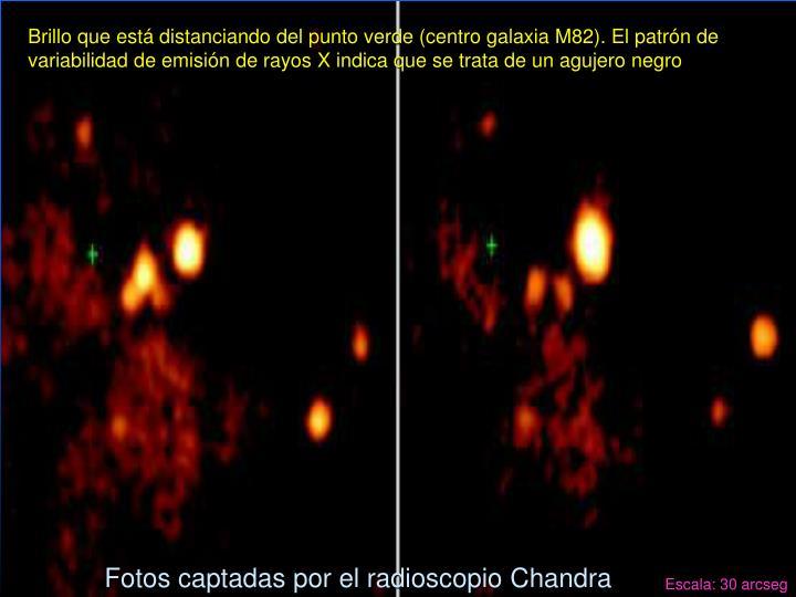 Brillo que está distanciando del punto verde (centro galaxia M82). El patrón de variabilidad de emisión de rayos X indica que se trata de un agujero negro