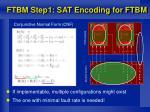 ftbm step1 sat encoding for ftbm
