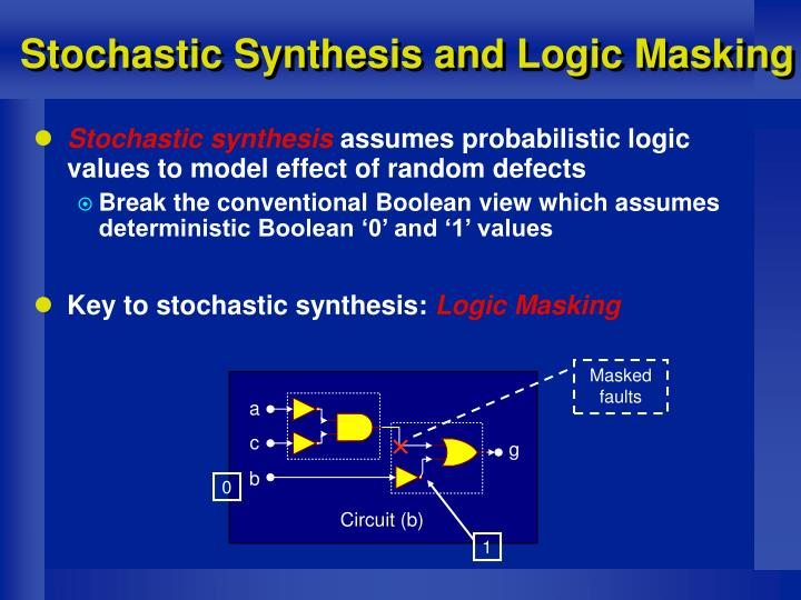 Stochastic Synthesis and Logic Masking