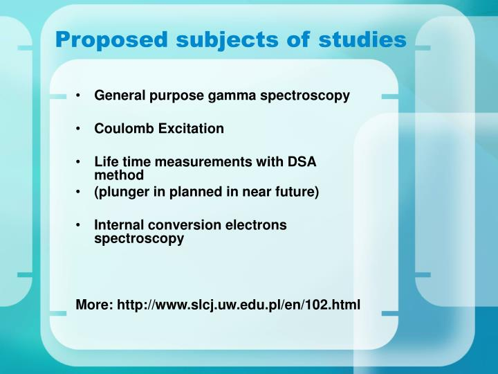 Proposed subjects of studies