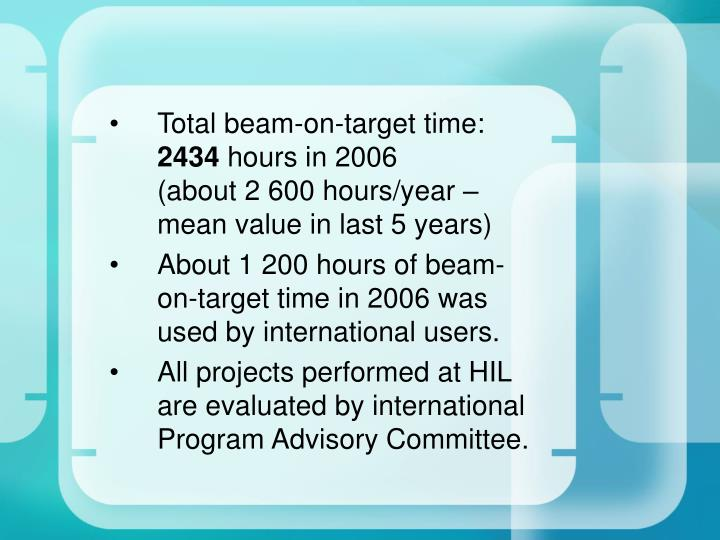 Total beam-on-target time: