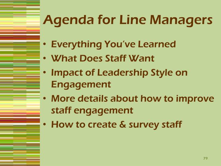 Agenda for Line Managers