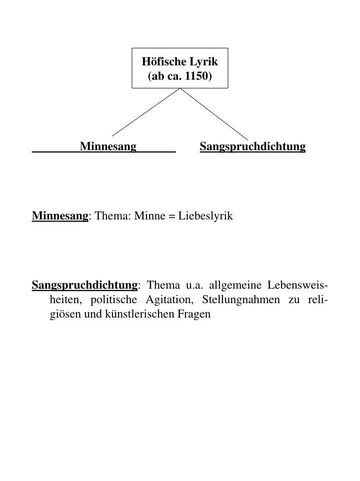 Höfische Lyrik (ab ca. 1150)