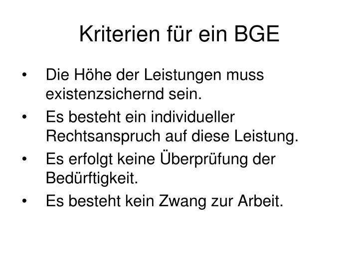 Kriterien für ein BGE