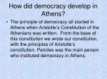 how did democracy develop in athens