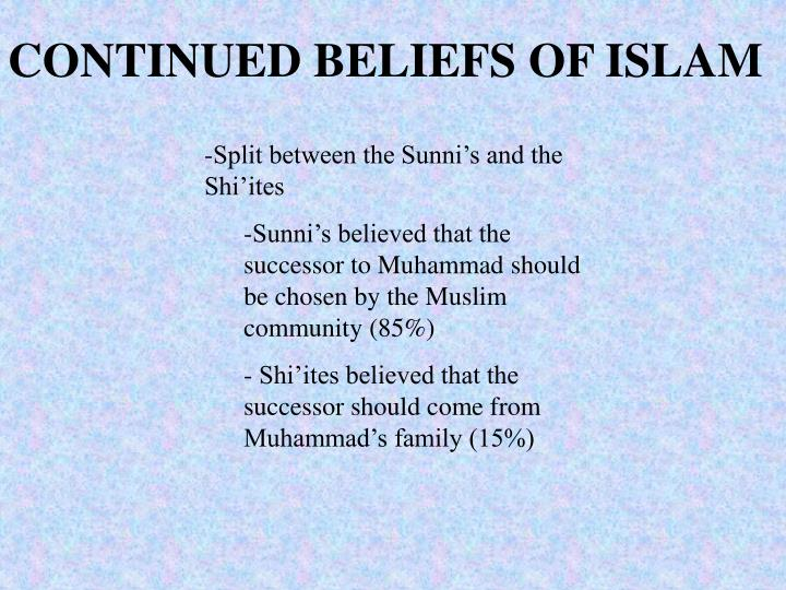 CONTINUED BELIEFS OF ISLAM