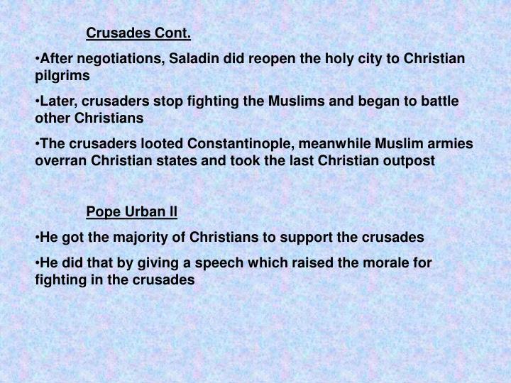 Crusades Cont.