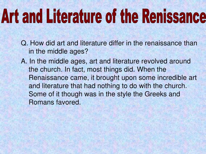 Art and Literature of the Renissance