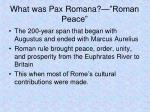 what was pax romana roman peace