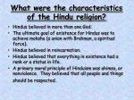 what were the characteristics of the hindu religion