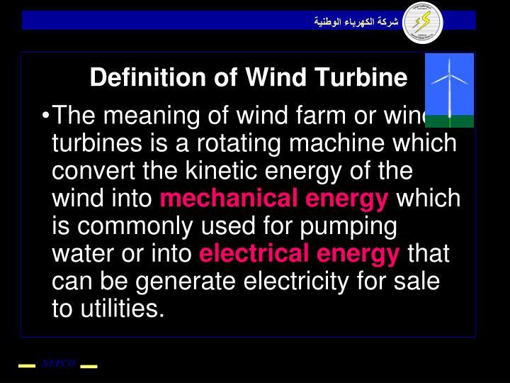 Definition of Wind Turbine