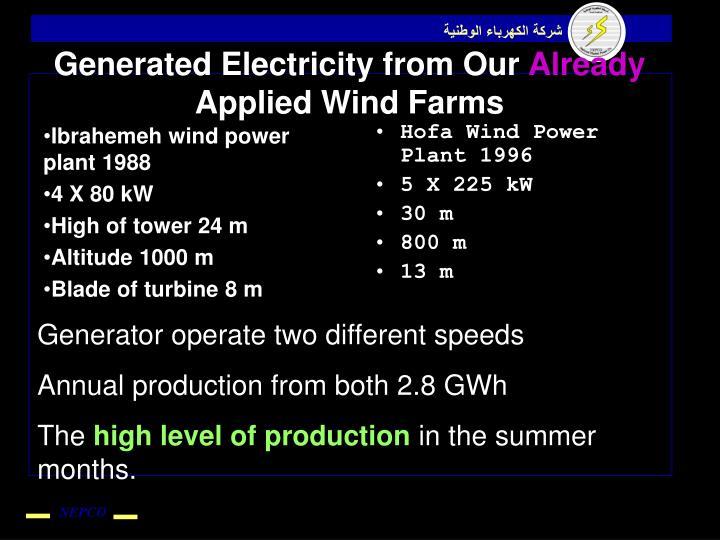 Ibrahemeh wind power plant 1988