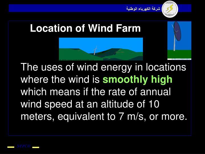 Location of Wind Farm