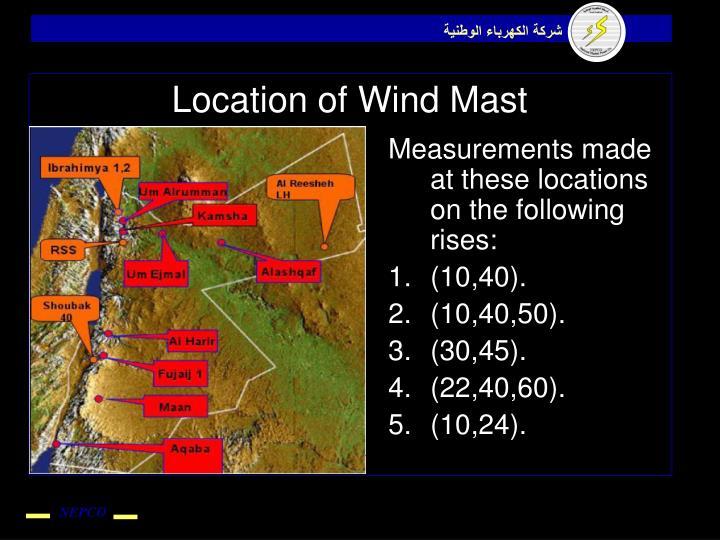 Location of Wind Mast