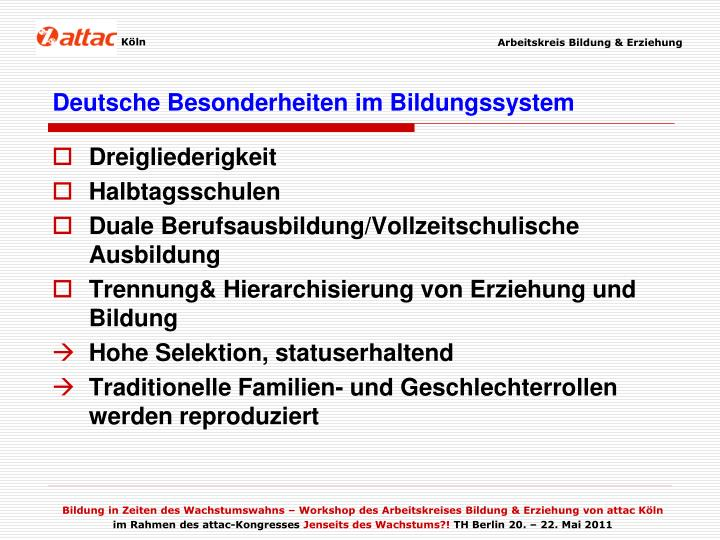 Deutsche Besonderheiten im Bildungssystem