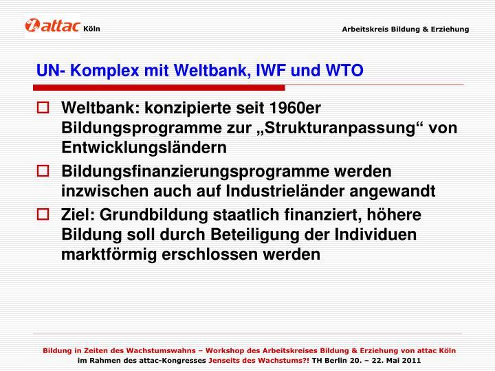 UN- Komplex mit Weltbank, IWF und WTO