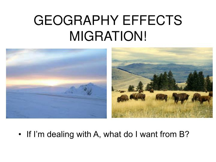 GEOGRAPHY EFFECTS MIGRATION!