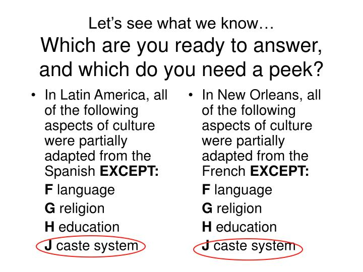 In Latin America, all of the following aspects of culture were partially adapted from the Spanish