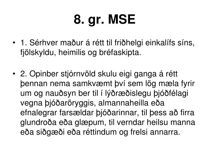 8. gr. MSE