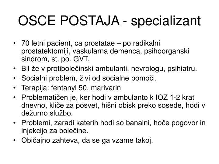 OSCE POSTAJA - specializant