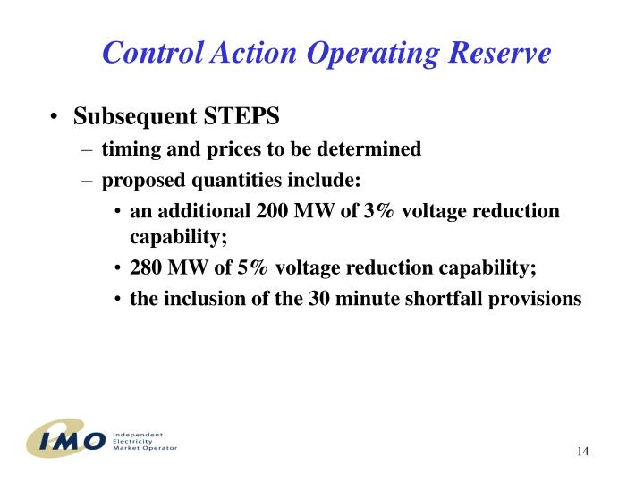 Control Action Operating Reserve