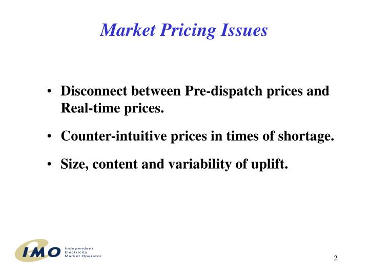 Market pricing issues