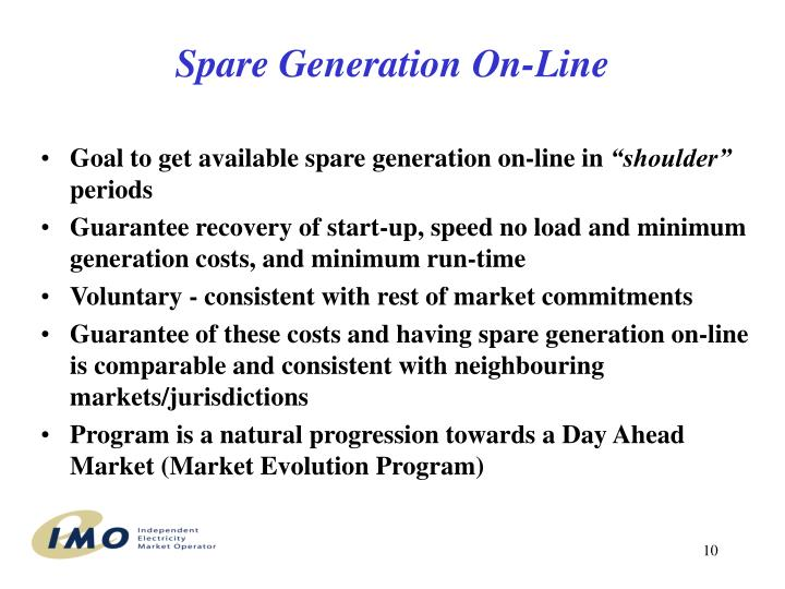 Spare Generation On-Line