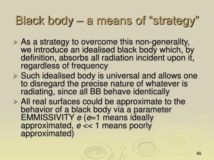 "Black body – a means of ""strategy"""