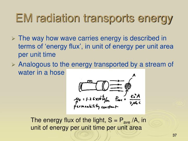 EM radiation transports energy