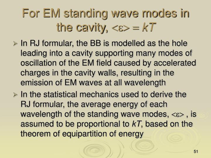 For EM standing wave modes in the cavity,