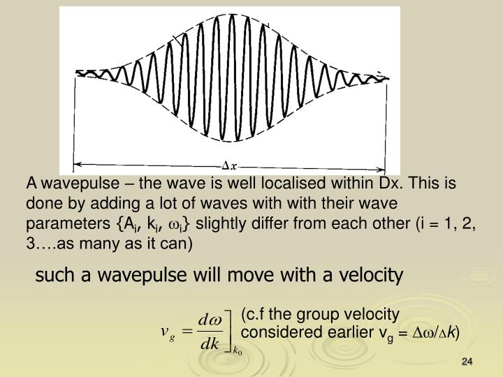 such a wavepulse will move with a velocity