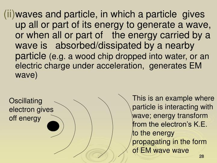 waves and particle, in which a