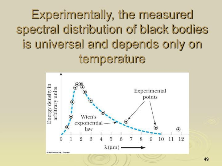 Experimentally, the measured spectral distribution of black bodies is universal and depends only on temperature
