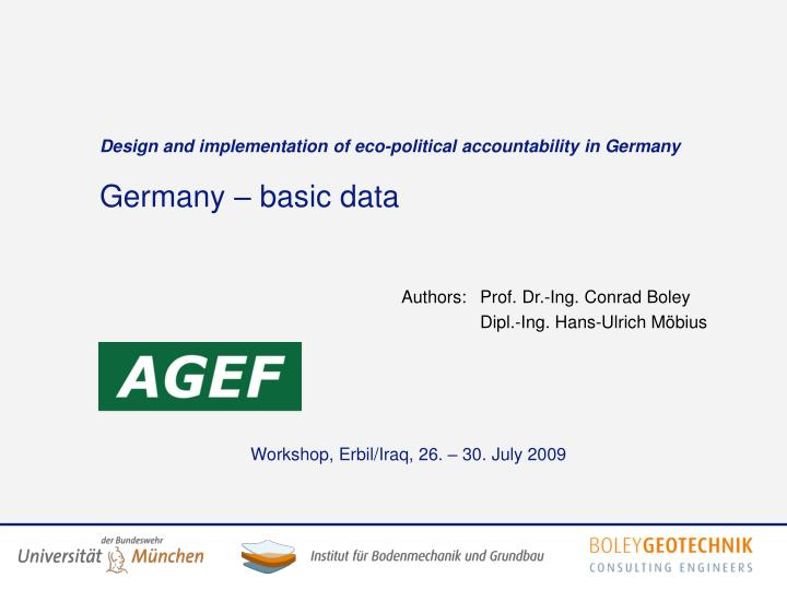 Design and implementation of eco political accountability in germany germany basic data