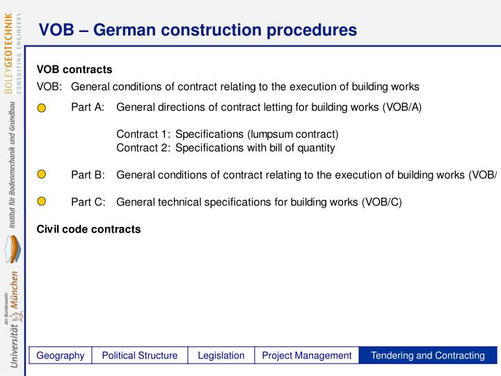VOB – German construction procedures