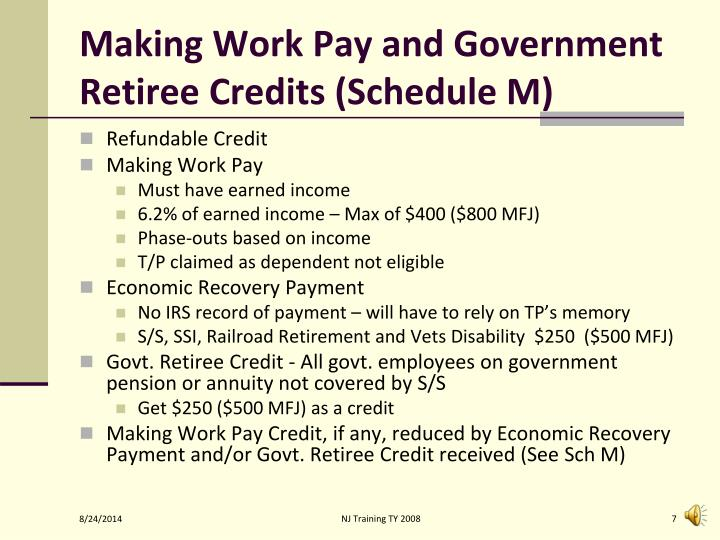 Making Work Pay and Government Retiree Credits (Schedule M)