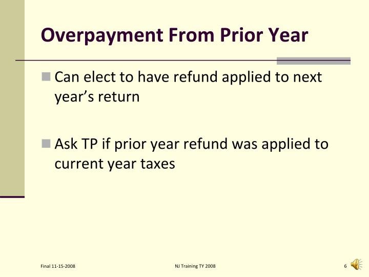 Overpayment From Prior Year