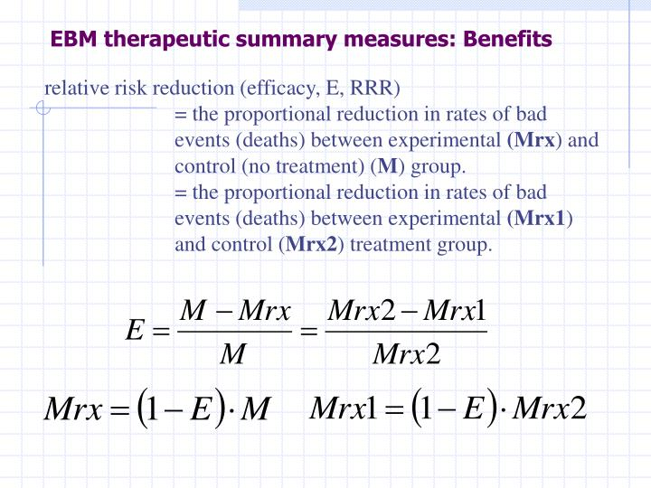 EBM therapeutic summary measures: Benefits