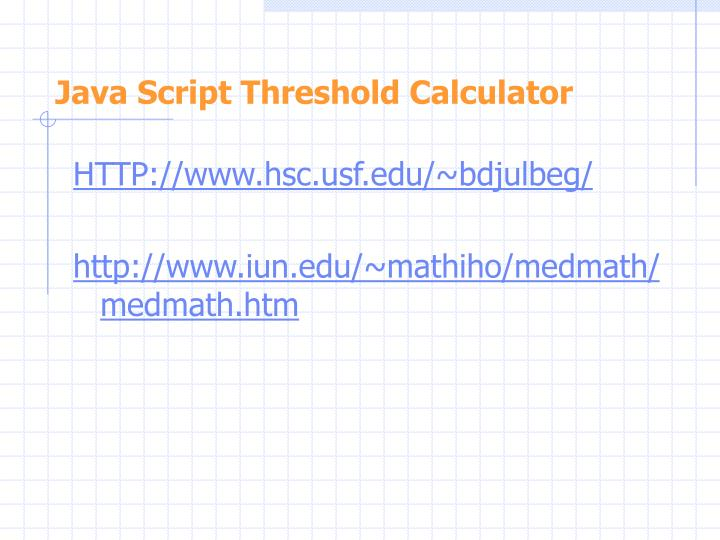 Java Script Threshold Calculator