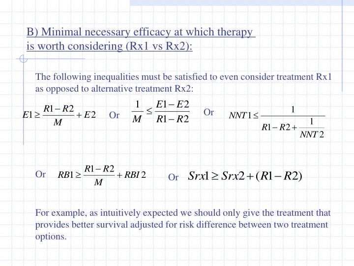 B) Minimal necessary efficacy at which therapy