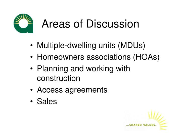 Areas of discussion