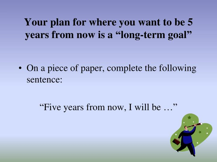 "Your plan for where you want to be 5 years from now is a ""long-term goal"""