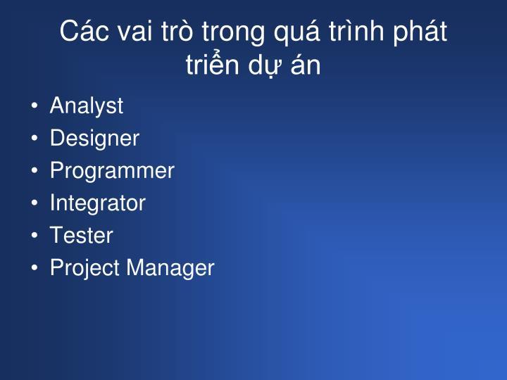 Các vai trò trong quá trình phát triển dự án