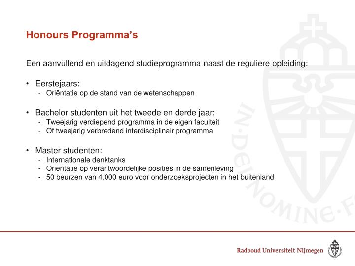 Honours Programma's