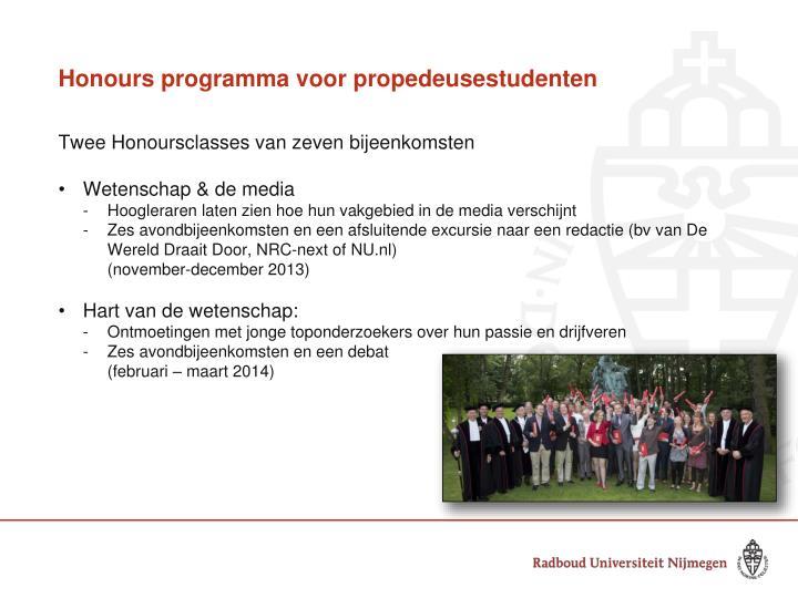 Honours programma voor propedeusestudenten